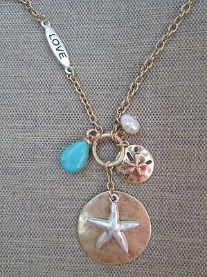 Silver Starfish Sand Dollar Charm Gold Medallion Turquoise Love Pendant Necklace