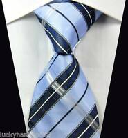 New Classic Checks Baby Blue White JACQUARD WOVEN 100% Silk Men's Tie Necktie