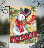 Toland - Candy Cane Snowman - Welcome Colorful Christmas Winter Garden Flag