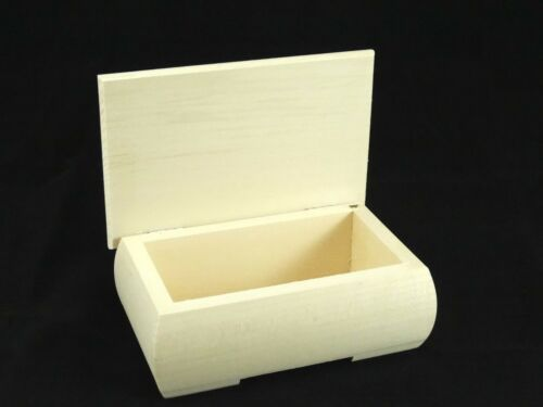 Small Plain Wood Rounded Edges Jewellery Trinket Box with Lid Decoupage Craft