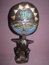 Ashanti African Ghana Hand Crafted Wood Akuaba Fertility Doll Statue Brass Beads