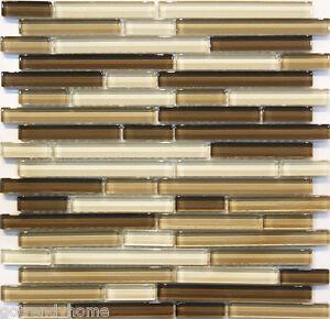 Image Is Loading 10sf Neutral Brown Gl Mosaic Tile Kitchen Backsplash
