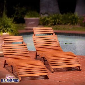 Wood Chaise Lounge Set Of 2 Outdoor Furniture Patio Chair