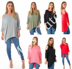 NEW-WOMENS-LADIES-LONG-BATWING-TOP-CUT-OUT-COLD-SHOULDER-DIP-HEM-LOOSE-FIT-TUNIC