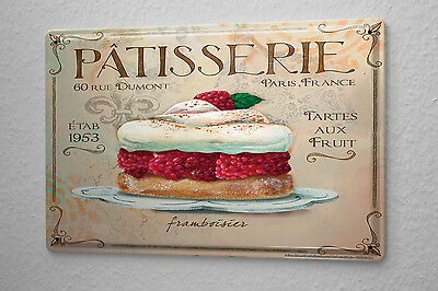 Tin Sign Nostalgic Fun Decoration Raspberry pie pastry Metal Wall Plate