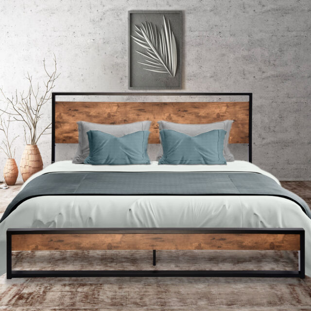 Modern Open Frame Metal Platform Bed With Headboard Gold Finish