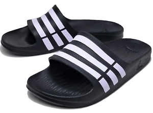 cf9451f89 Image is loading NWT-ADIDAS-DURAMO-G15890-BLACK-WHITE-SLIDES-SANDALS-