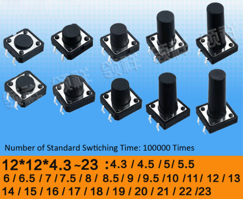 12x12x4.3mm to 23mm SPST Momentary Tactile Push Button Switch 4-Pin Micro PCB