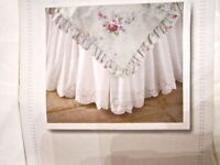 Simply Shabby Chic Bedskirt White Pink Eyelet Twin Full Queen Cal King Ruffled