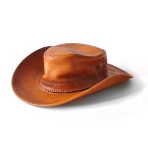 ef882369703 Pratesi Italian Leather Cagliostro Western Hat 59 cm - 23.5