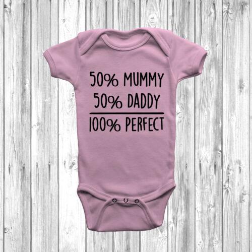50/% maman 50/% papa 100/% Parfait bébé grandir Body Costume Gilet Drôle connotés Humour