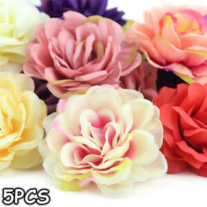 5Pcs-Artificial-Flower-Silk-Rose-Head-Wreath-Garland-Home-Decor-Wedding-Supply