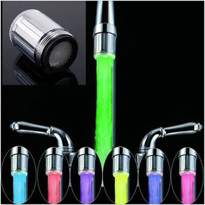 LED Water Faucet Stream Light Changing Glow Shower Stream Tap Head + Faucet YB