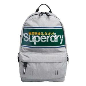 Superdry-NEW-Men-039-s-Stripe-Logo-Montana-Backpack-Grey-Marl-BNWT