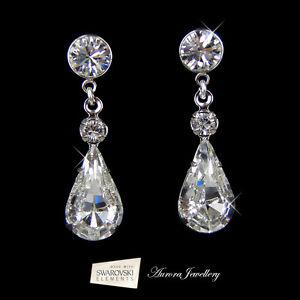 Details About Swarovski Crystal Elements Tear Drop Earrings Wedding Bridal Clear Silver Aaa