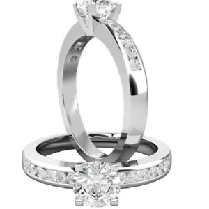 0.74 Ct Round Cut Moissanite Engagement Superb Rings 18K Solid White Gold Size 5