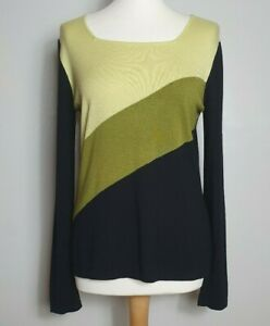 WINDSMOOR-Green-amp-Black-Striped-Jumper-Size-Small-UK-10-12-Light-Sweater-Top