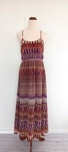 Cooper-St-Womens-Size-10-70s-Inspired-Purple-Brown-Patterned-Maxi-Dress
