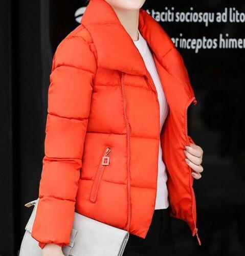 Womens Lappel Short Coats Zipper Korean Down Cotton Warm Outwear Jackets New F81