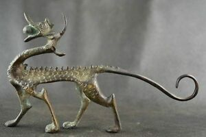 Collectables-Dynasty-Old-Chinese-Bronze-Dragon-Statue