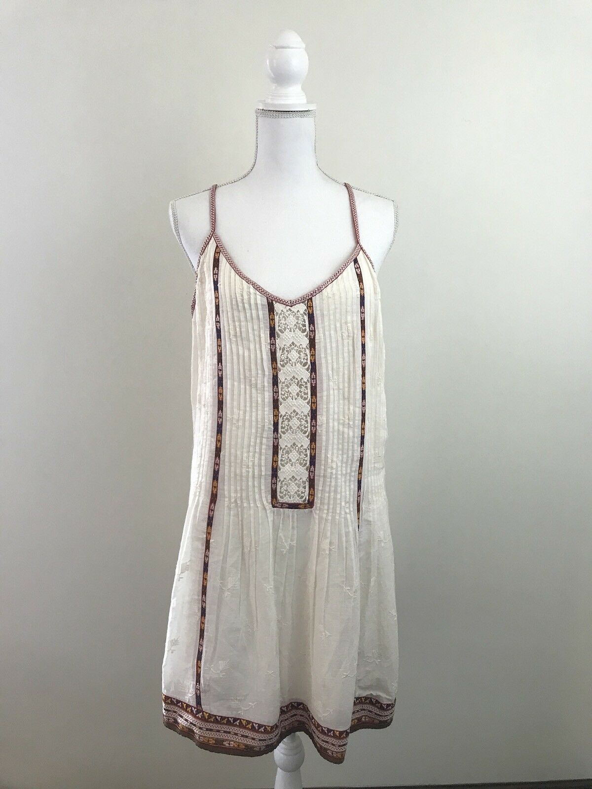 Joie Womens Horlane Dress in Natural Size L  NWT Peasant Cream Sleeveless