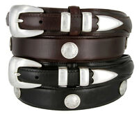 Buffalo Nickel & Indian - Western Genuine Leather Ranger Belt, 1-3/8 Wide