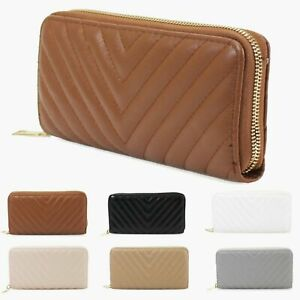 Ladies-Women-039-s-Synthet-Quilted-Design-All-Over-Party-Fashion-Wallet-Purse-New-UK