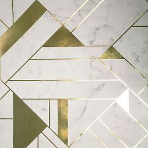 Couronne-Luxe-Mayfair-Islington-Geometrique-Peint-Rouleaux-Dore-Blanc-M1468