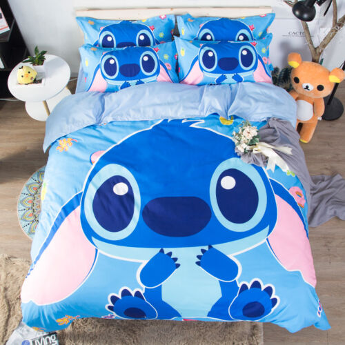 Stitch Blue Bedding set Duvet//Quilt Cover Pillowcase Girl boy Domitory//Bedroom