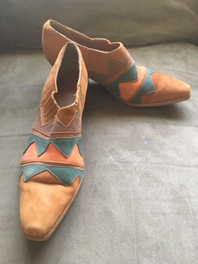 Mandrins Brésilien Cuir Boho Géométrique pour Femme chaussures De Court Cheville bottes Taille 8.5