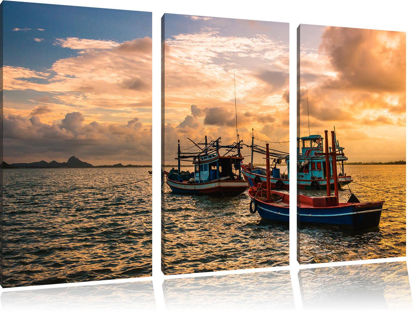 Tailandesa Barcos de el Pesca en el de Mar 3-Teiler Foto en Lienzo Decoración de Pa rojo  e573ba