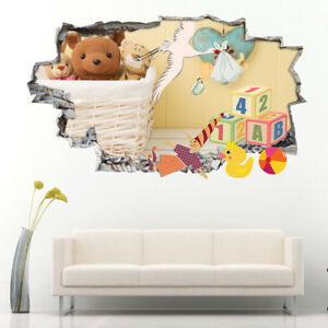 Details About J061 Retro Baby Toys Stork Nursery Wall Stickers Bedroom S Boys Living Kids