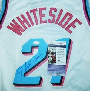 outlet store bbd68 bd756 Details about Hassan Whiteside Signed A Rare Miami Vice Heat Jersey in  Person JSA CERTIFIED