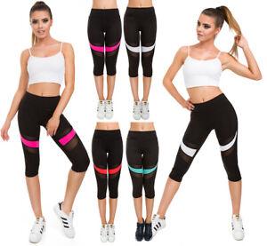 Damen-Solid-Hohe-Taille-Sport-Leggings-mit-Neon-Einsatz-Capri-Activewear-G230
