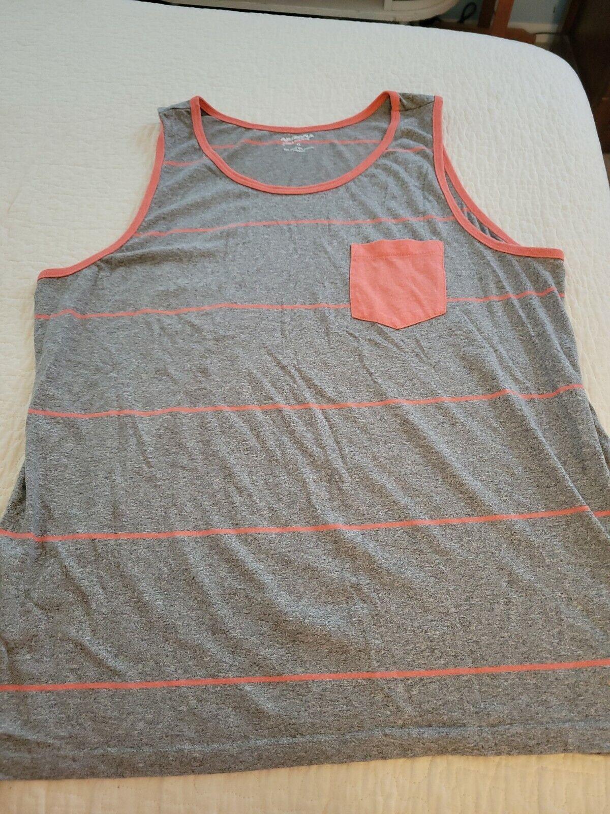 Mens XL Arizona Grey Coral Striped Tank Shirt