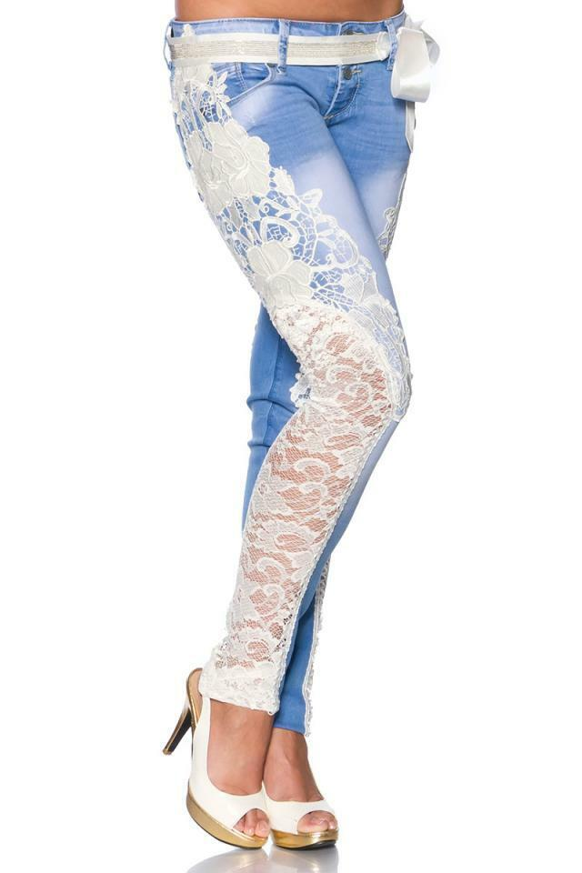 ATX 13027 Deluxe Designer Jeans Trousers with Lace Jeans Trousers Handmade 36 38 40