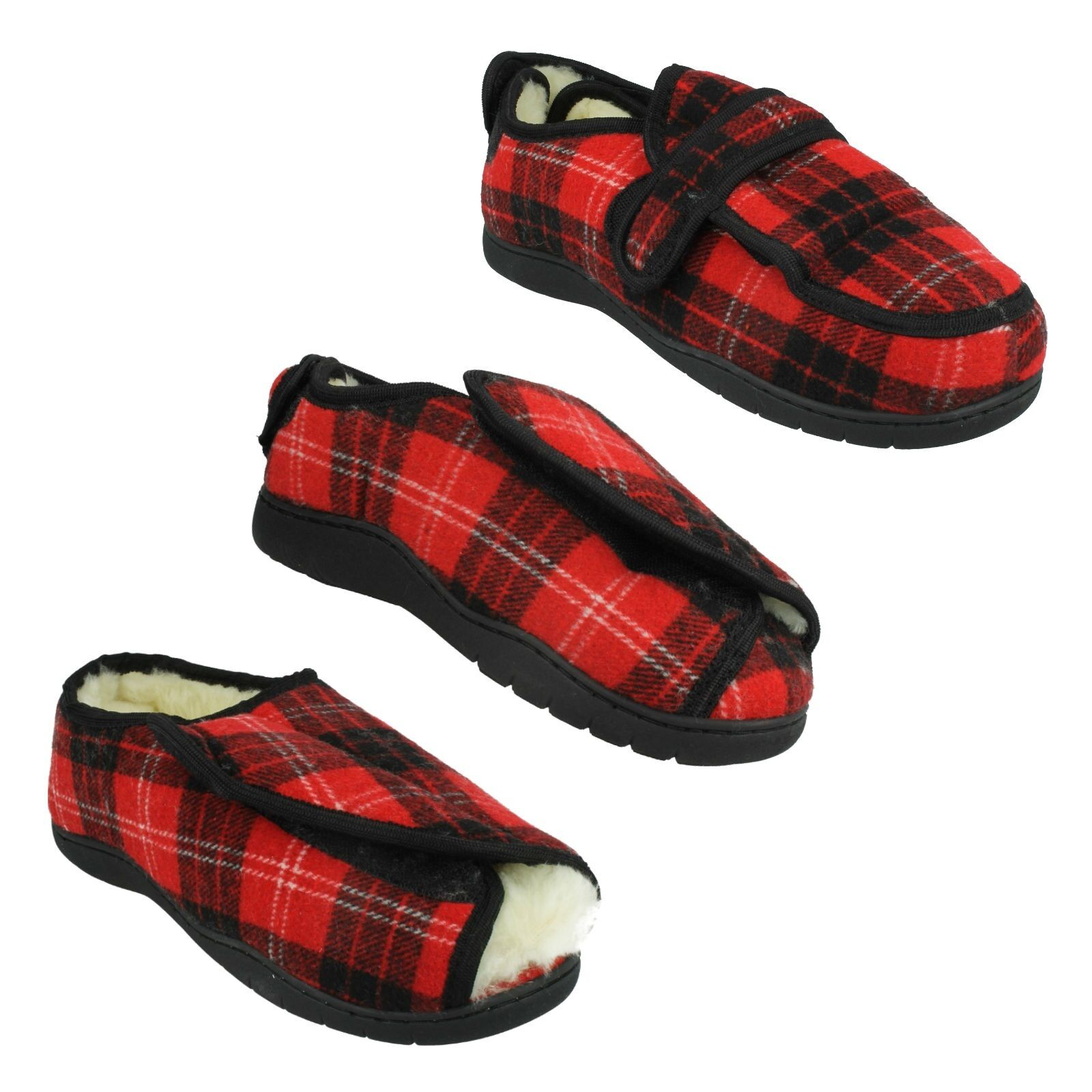 LADIES WIDE FITTING MEMORY FOAM CHECKED BLACK RED FUR LINED WINTER SLIPPERS