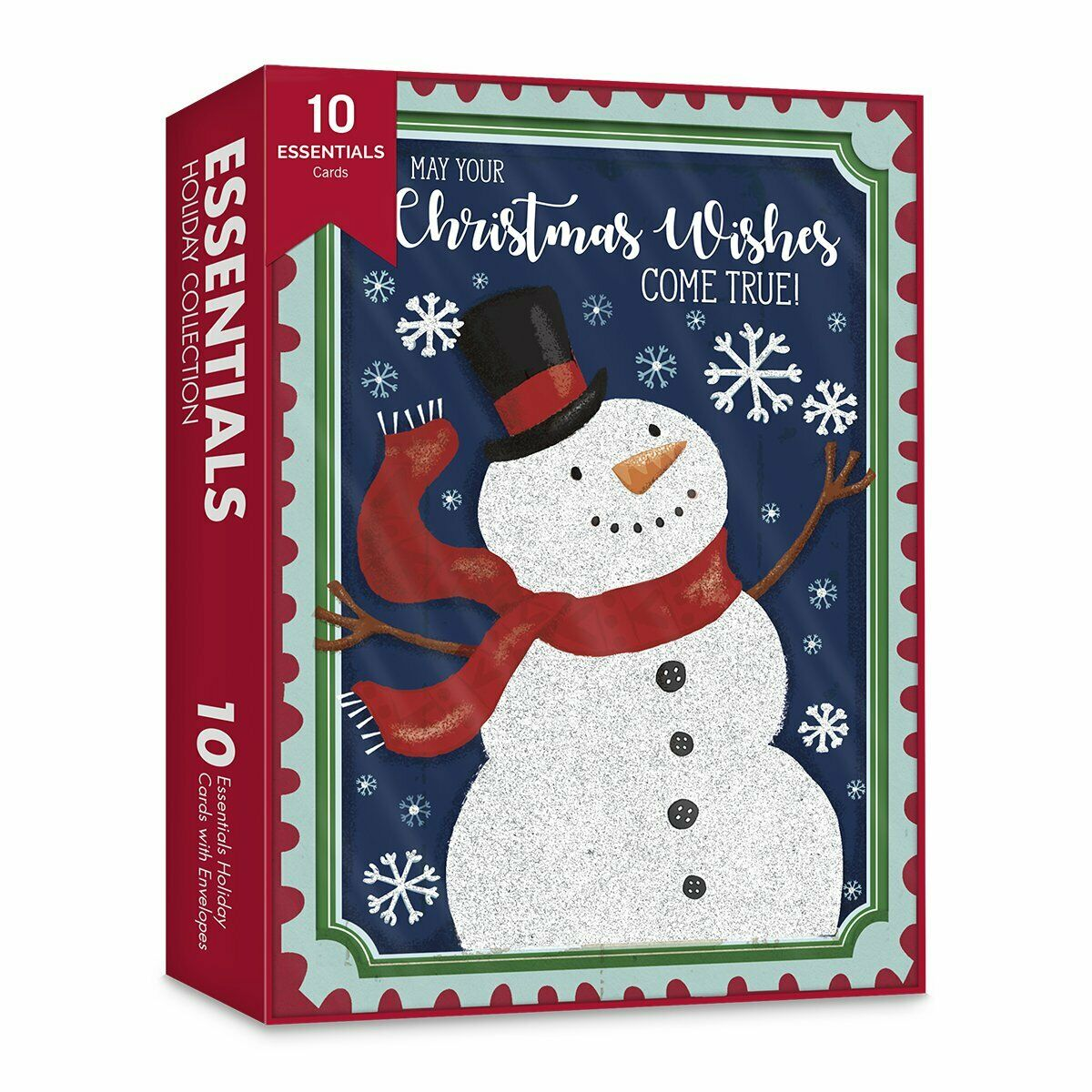 Embossed White Snowman Holiday Merry Christmas Cards Set