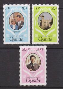 1981-Royal-Wedding-Charles-amp-Diana-MNH-Stamp-Set-Uganda-SG-341-343-PINK
