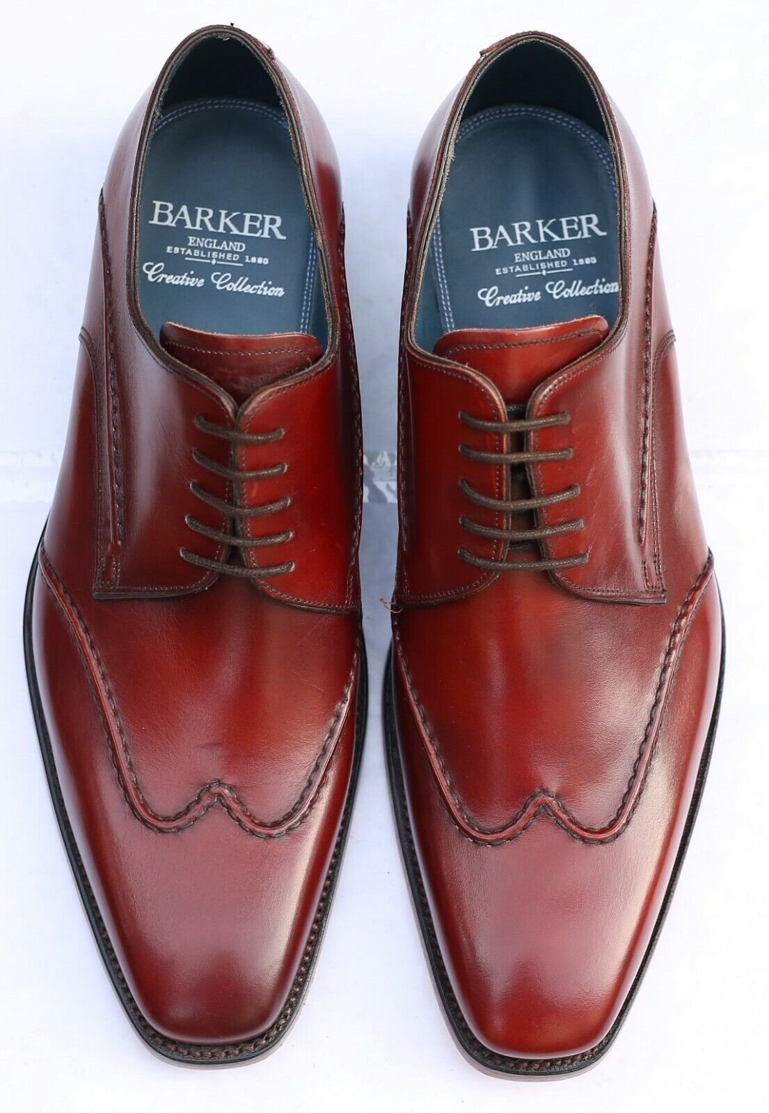 New & Boxed Barker 'Brooke' Derby Cherry Leather shoes 8 8 8   8.5 UK 42   42.5 EU 6c9451