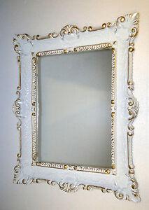 Detalles de Espejo de Pared Blanco Oro Vintage,Shabby Chic,Barroco,Baño  Estilo Moderno 57x47