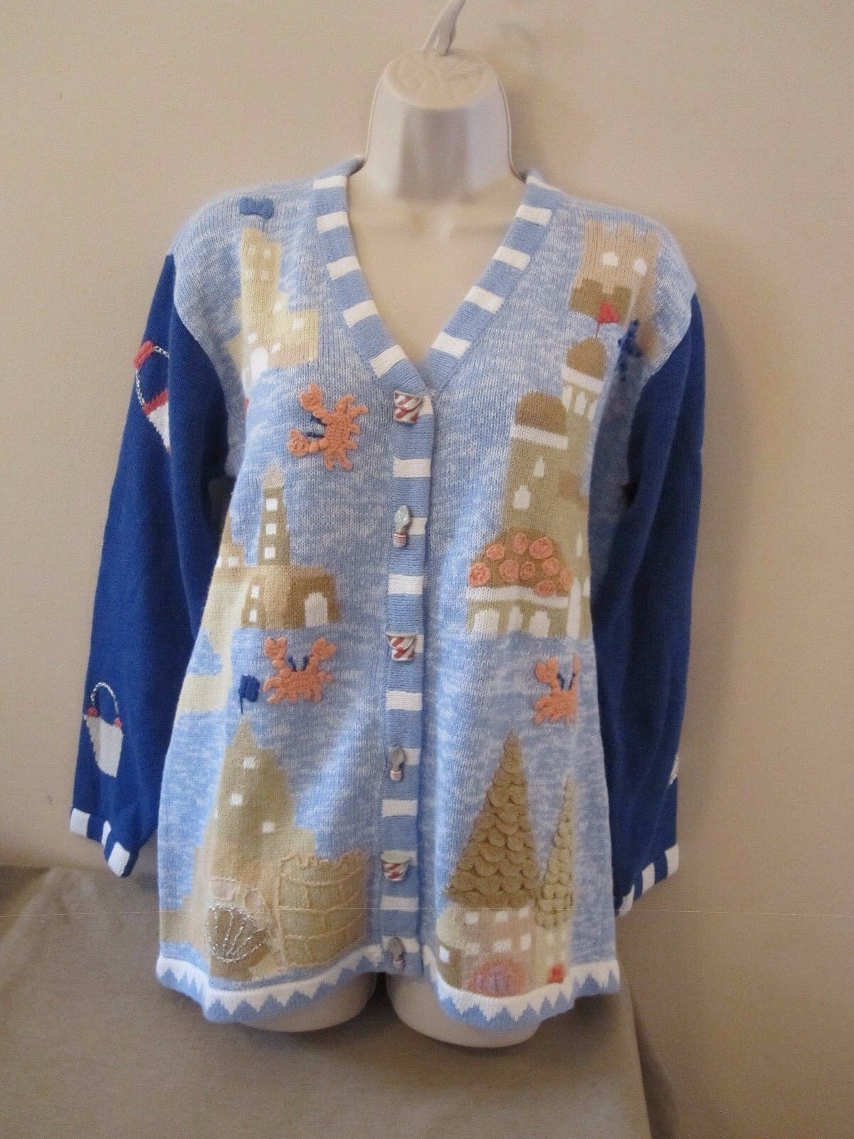 Storybook Knits bluee 3D Cardigan Sweater Sand Castles Beach Crabs Shell Sz Small