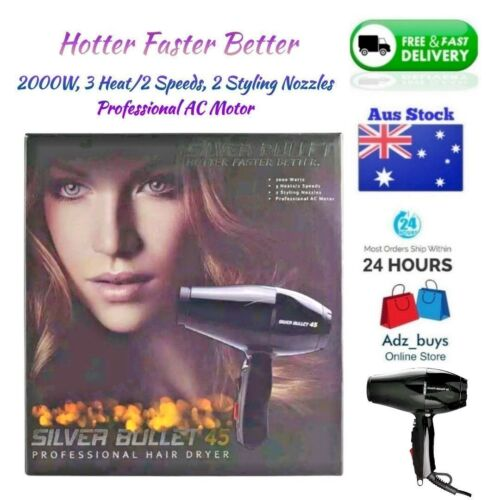 SILVER BULLET 45 SALON GRADE HAIR DRYER + INCLUDES STYLING NOZZLES JET BLACK