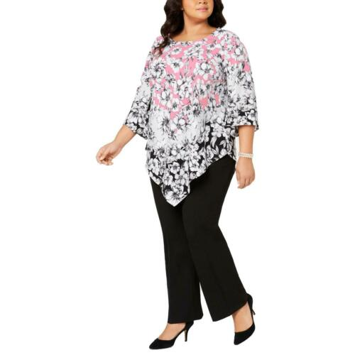 Alfani Womens Pink Printed Asymmetric Tunic Blouse Top Plus 1X BHFO 1546
