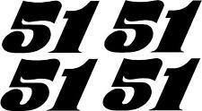 Racing Number Decal Go Kart Motocross Sticker Bmx 1 Color Old School Set Of 4