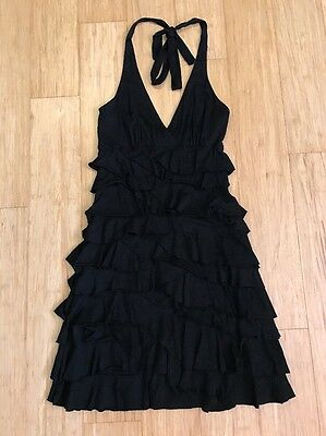 EXPRESS | Stretch Ruffle Tunic Halter Mini Dress Black Size XXS