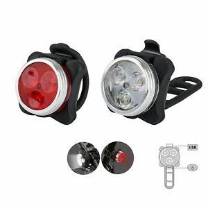 USB-Ricaricabile-Ciclismo-Bicicletta-Bici-3-LED-Testa-Anteriore-Posteriore-Coda-Lampada-Clip