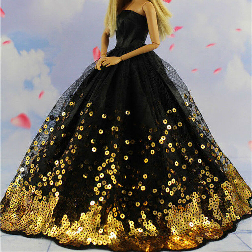 Luxury Black Wedding Party Dress Gold Sequins Clothes Grows for 11inch Doll Gift 2