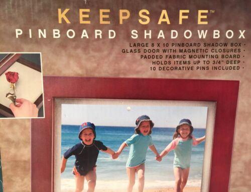 New Keepsafe Shadowbox Pinboard Box Scrapbooking /& 10 Decorative Pins 8 X 10