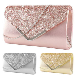 02cd44d95ef Image is loading Women-Glitter-Clutch-Bag-Ladies-Evening-Wedding-Party-